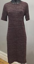 Sportsgirl Dress M Knit Burgundy Grey Marle Short Sleeve EUC