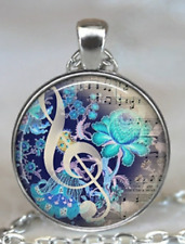 Beautiful Pendant with chain, Music Note & Flowers