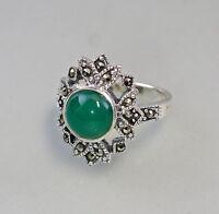9927189 925er Silber Markasiten Ring Grün-Achat Gr.53