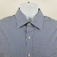 Jos A Bank Tailored Fit Seersucker Blue Check L/S Dress Button Shirt Sz Medium M