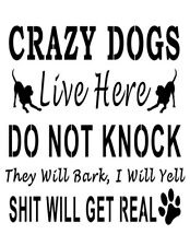 """Do Not Knock Crazy Dogs Live Here Dog 8.5""""x11"""" Custom Stencil FAST FREE SHIPPING"""
