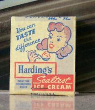 Rare Vintage Matchbook Z6 Diamond Match Harding's Sealtest Ice Cream Girl Taste