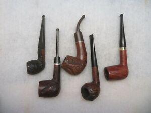 Vintage Carved Bowl Estate Pipe Lot Imported Briar + Sandblast