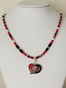 NFL Tampa Bay Buccaneers Seed Beaded Pendent Necklace With Sterling Silver Clasp