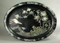 ^Antique Victorian Chinoiserie Tole Mother-of-Pearl & Lacquered Tin Oval Tray