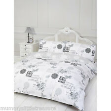 VINTAGE SIENNA GREY AND WHITE DOUBLE DUVET COVER & PILLOW SET SHABBY CHIC STYLE