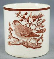 British Brown Bat Print Bird Creamware Child's Mug Circa 1800-1820