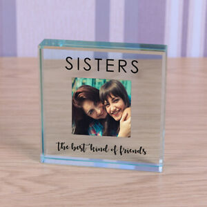 Sisters - Personalised Photo Glass Block Ornament Gift 8cm