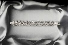 Bracelet Argenté Art Deco Floral Filigrane Pavé Brillant Class Mariage CT3