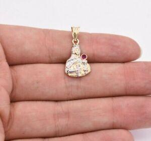 "1"" Saint Barbara Diamond Cut Ruby Pendant Real 10K Yellow White Gold"