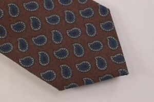 Ermenegildo Zegna NWT Neck Tie In Brown With Blue Paisley 100% Wool