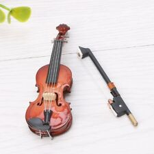 7CM Wooden Mini Violin Miniature Musical Instrument Model with Support and Case