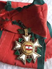 1936 Lebanon National Order of Cedar Grand Cross Sash Badge Medal Nichan 1 Class