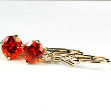 Created Padparadsha Sapphire, , 14KY Gold Leverback Earrings, E017