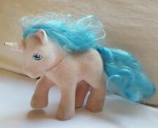 """5"""" Unicorn RARE Vintage My Little Pony Fuzzy Felt Horse w FADED Buttons ? used"""