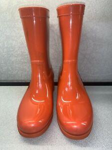 Prada Short Rain Rubber Boots Size 37 Orange With Defects