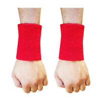 Sweat Wrist Band Sport Aerobics Badminton,Cricket WRISTBAND Red 4.5""