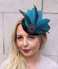 Black Bottle Green Feather Pillbox Hat Fascinator Hair Clip Vintage Races 2949