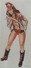 """""""PIN-UP POMPIER"""" Affiche originale entoilée Offset BRENOT 1951 34x73cm"""