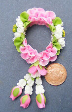 1:12 Scale Polymer Clay Garland Of Pink & White Flowers Dolls House Miniature L