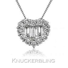 0.50ct F VS Diamond Baguette Brilliant Cut 18ct White Gold Heart Cluster Pendant