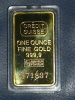 Goldbarren, Credit Suisse, 1 UNZE, 24 Karat vergoldet, Barren Gold
