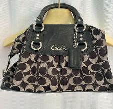 Coach E1282-15443 Signature Jacquard Patent Leather Tote, Hobo, Black Preowned
