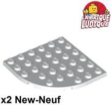 Lego - 2x Plate Round plaque ronde corner 6x6 blanc/white 6003 NEUF