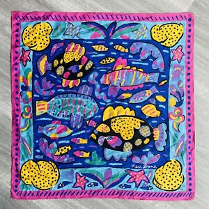 Vintage 80s Ken Done Tropical Fish Scarf 1985