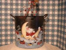 Vintage Kitchen Kettle Christmas Santa, Winter Country Farms Painted Folk Art.