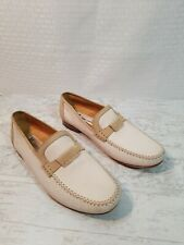 Massimo Emporio Two Tone Tan/White Perforated Leather Loafers Men'S Size 8 1/2M
