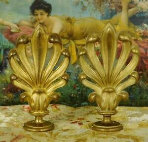 Impressive Pair Antique French Gilded Metal Chateau Curtain Pole Finials,19th C