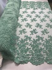 Beaded Fabric - Embroidered Flower Mesh Beads & Sequins Mint By The Yard
