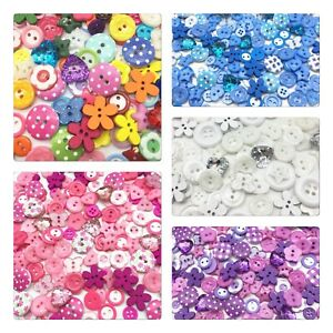 60 Mixed Buttons Wooden Plastic Sew Embellishment Craft Scrapbooking Cardmaking