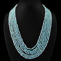 315.00 CTS NATURAL AAA 7 LINE RICH BLUE AQUAMARINE ROUND FACETED BEADS NECKLACE