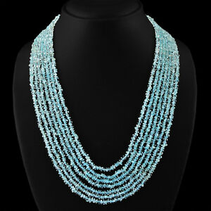 315.00 CTS NATURAL AAA 7 LINE BLUE AQUAMARINE ROUND FACETED BEADS NECKLACE (RS)