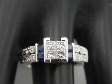 1.04 tcw Princess Quad Illusion Diamond Engagement Ring Designer 14k Sapphire