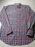Peter Millar Mens Shirt Size L Purple Blue Check Long Sleeve Button Front Cotton