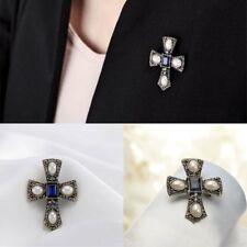 Zircon Pearl Pins Brooch Best Gift Vintage Jewelry Men Women Cross Gem Cubic