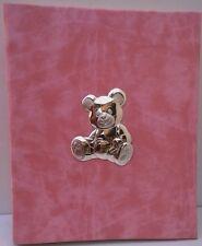 Album Portafoto Rosa con Orsetto cm 20x25  con Applicazione in Argento925%°