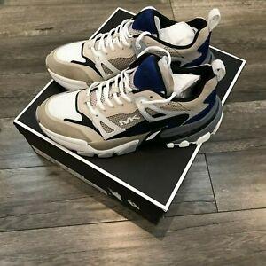 New Michael Kors Nick Mesh Sneakers With Box & Bag Size 11 Tan & Twilight Blue