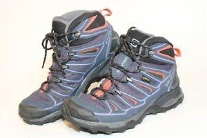 Salomon Womens Size 6.5 38 X Ultra 3 Mid Waterproof Lace Up Hiking Boots 390399