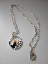 Silberene Halskette Sonnenaufgang Anhänger Mode Schmuck Geschenk Fashion UNISEX