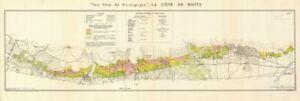BURGUNDY BOURGOGNE WINE MAP La Côte de Nuits. Vineyards vignobles. LARMAT 1953
