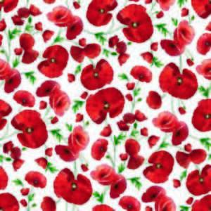 ALL OVER POPPIES RED POPPY FLOWERS WHITE GREEN PVC OIL VINYL PLASTIC TABLE CLOTH
