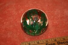 Vintage Green Flower in Clear Glass Paperweight