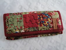 NEW DONNA SHARP WATERCOLOR PATCH MEDIUM WALLET Floral Burgundy Green Peach
