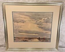 Vintage Lithograph of Geese by Pieter Van Der Hem Professionally Matted & Framed