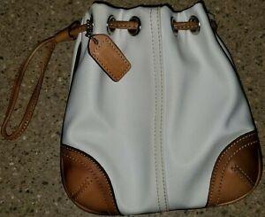 "COACH Mini Drawstring Pouch Wristlet 8669 White Nylon Bag & Leather Trim 6.5"""