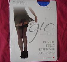 Gio Electric Blue Fully Fashioned Cuban Heel Seamed Nylon Stockings 10 Medium L*